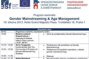 Program semináře  Gender Mainstreaming & Age Management