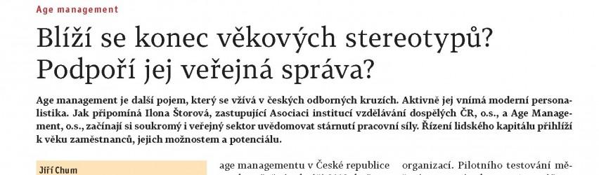 """Článek Jiřího Chuma """"Blíží se konec věkových stereotypů?"""